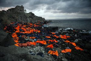 Life vests, inner tubes and rubber rafts on the north coast of the Greek island of Lesbos. The basic equipment that thousands of refugees have used to cross to Greece from Turkey. November 21, 2015.